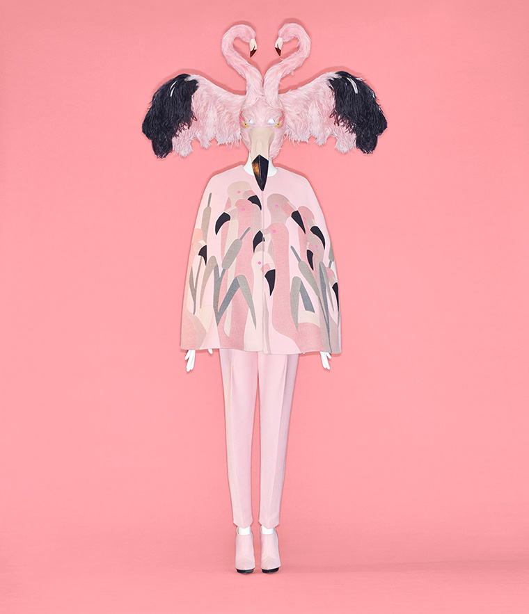 """From """"Camp: Notes on Fashion."""" Bertrand Guyon (French, born 1965) for House of Schiaparelli (French, founded 1927). Ensemble, fall/winter 2018–19 haute couture. Courtesy of Schiaparelli. Photo © Johnny Dufort, 2019."""