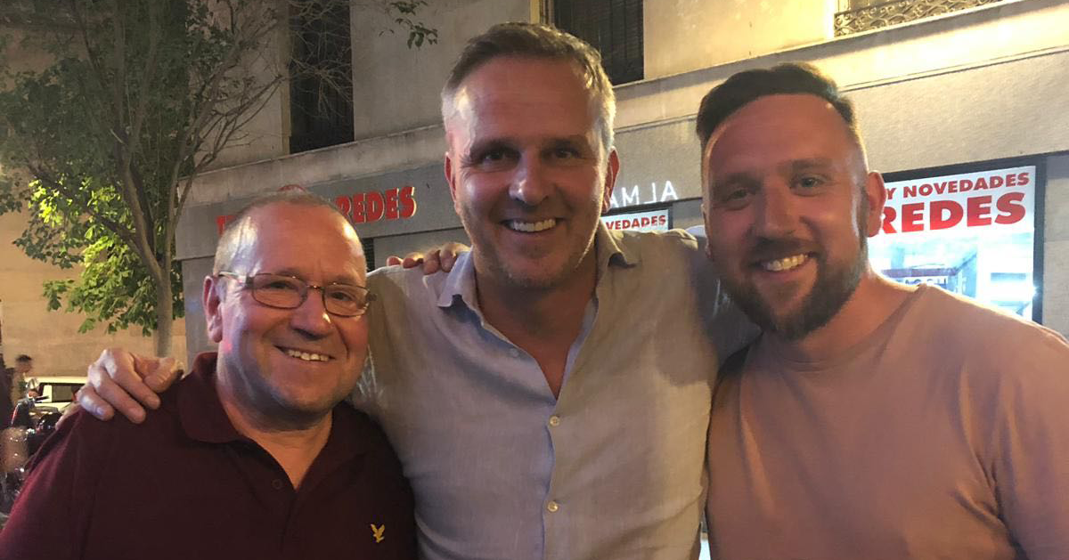 Lee, with his father and Didi Hamann in Madrid at the 2019 Champions League final.