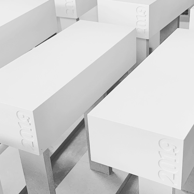White Spray finished SLA Resin 3D printed AJ 100 Awards Trophies