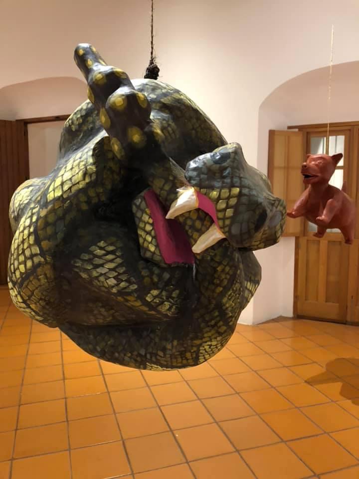Rattlesnake, 2018, paper mache, dimensions variable