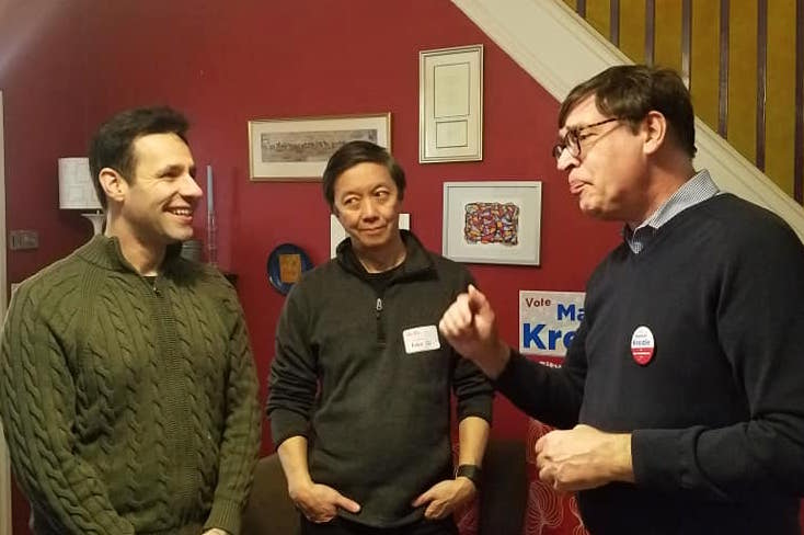 MARWAN AT A CAMPAIGN EVENT WITH JOE KAHN AND ANDY TOY