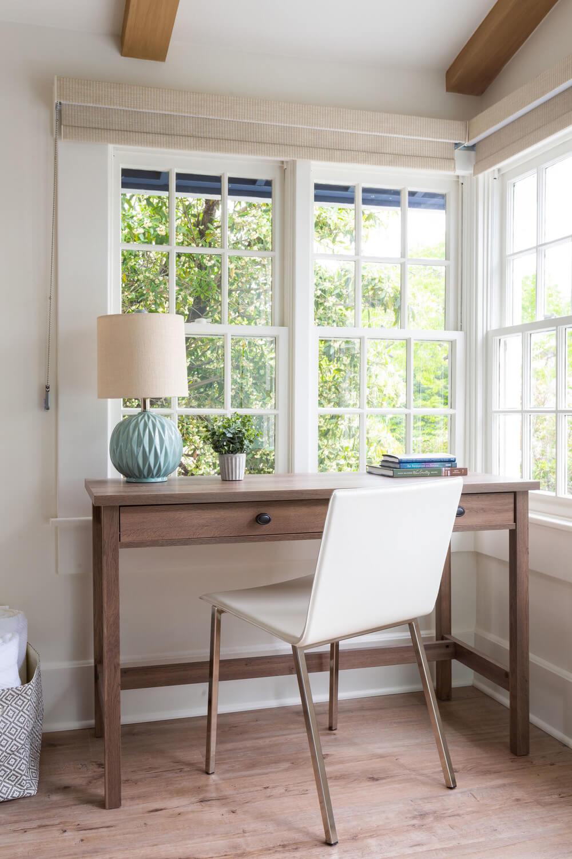 desk facing the window