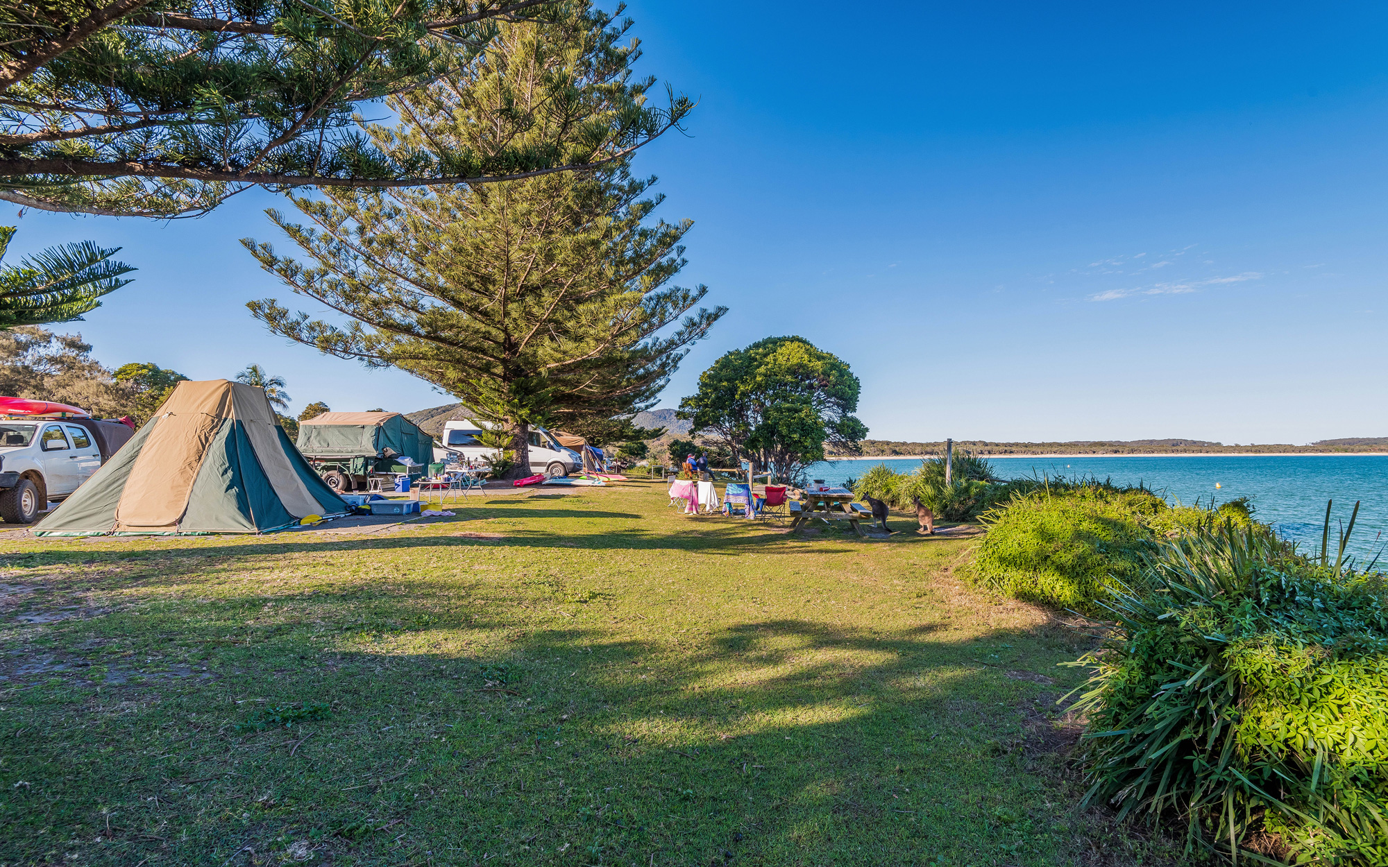 TRIAL BAY GAOL CAMPGROUND - Trial Bay Gaol campground is right by the beach and perfect for a family camping holiday. Bring your caravan, motorhome or tent for a weekend of swimming, fishing and fun.