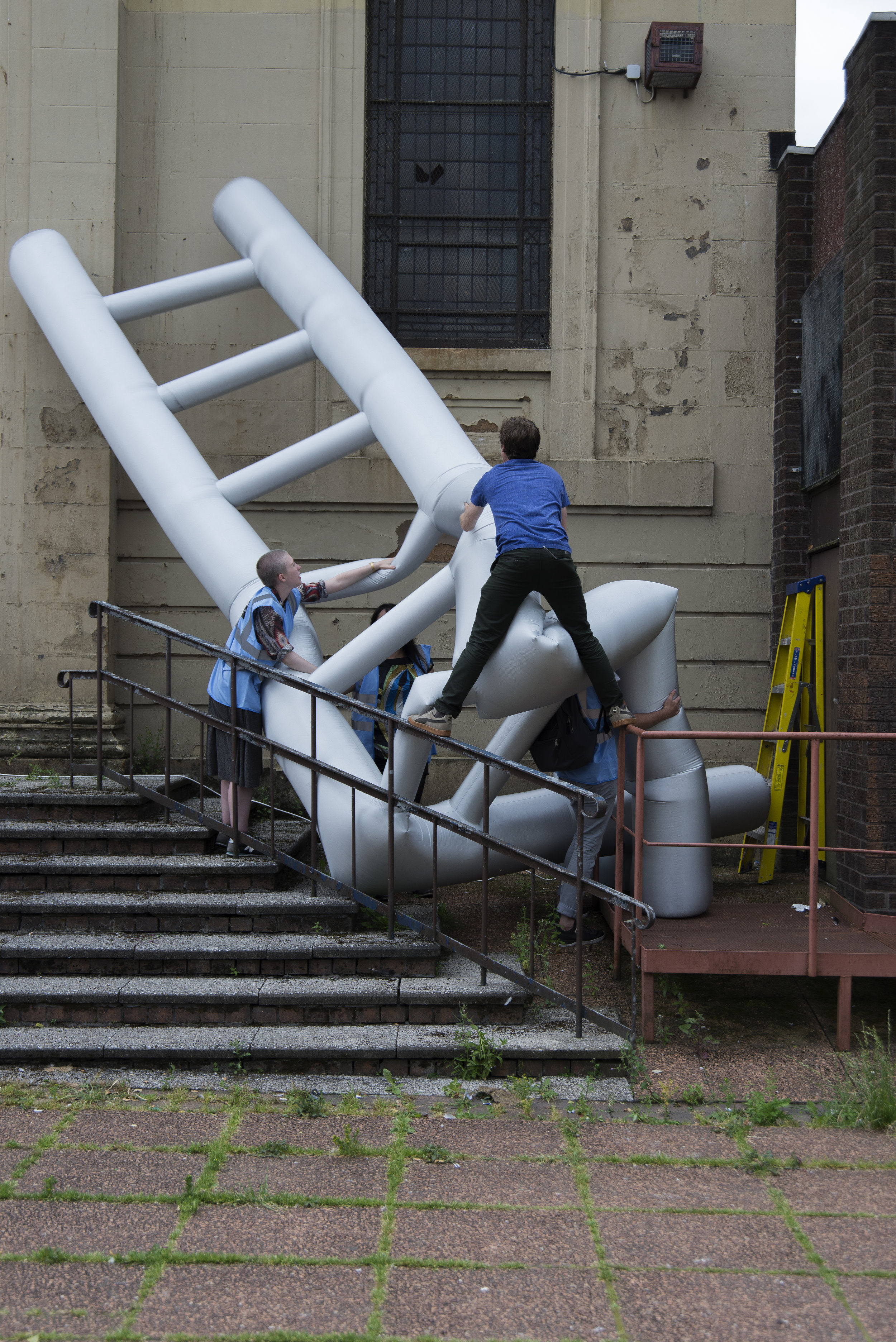 Installing inflatable sculptures as part of Pulse - a series of temporary and permanent artworks - 2014