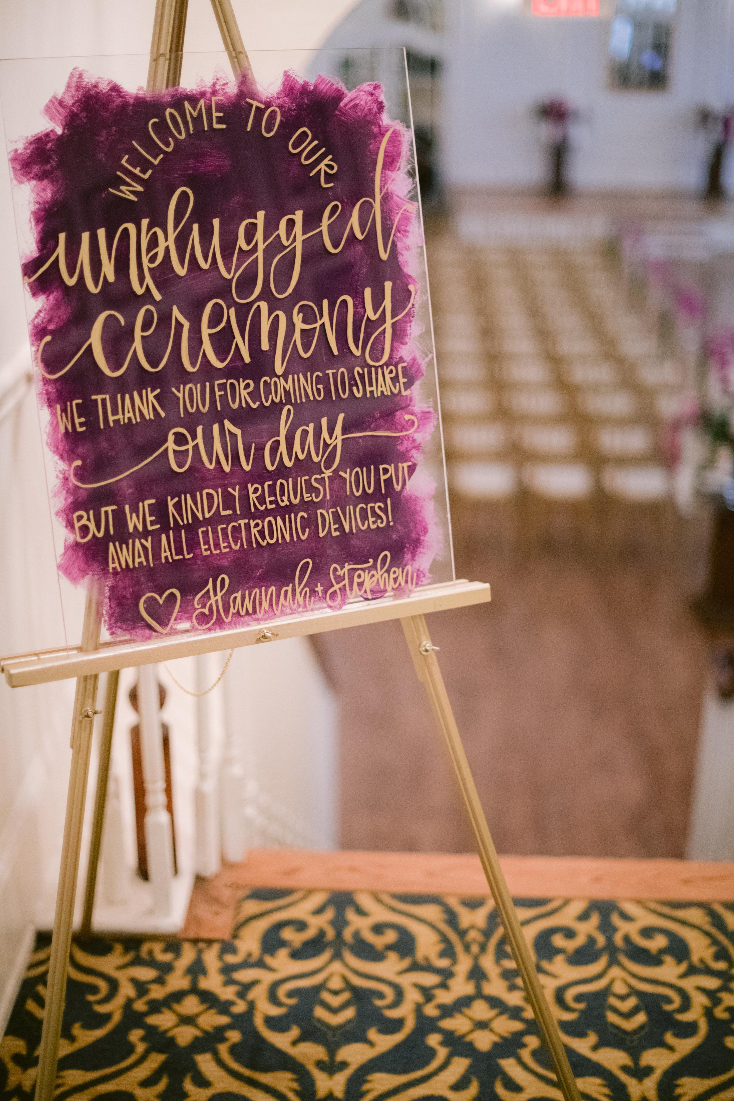 Unplugged wedding ceremony.