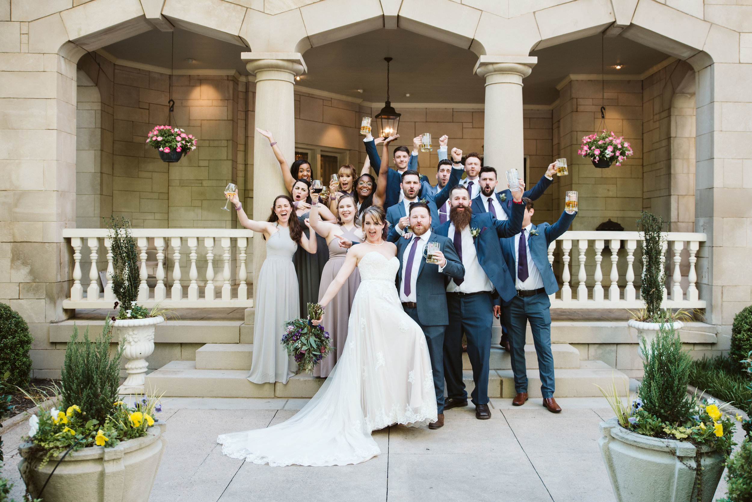 Bridal party poses in front of The Wimbish House in midtown Atlanta.