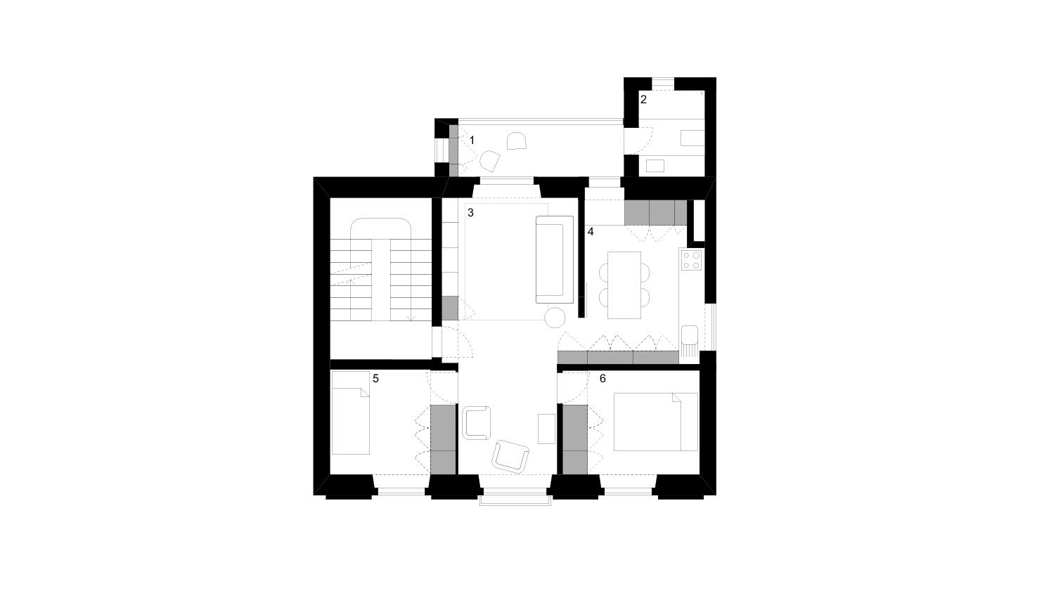 FLOOR PLAN _ 1 winter garden . 2 bathroom . 3 living room . 4 kitchen . 5 bedroom . 6 master bedroom