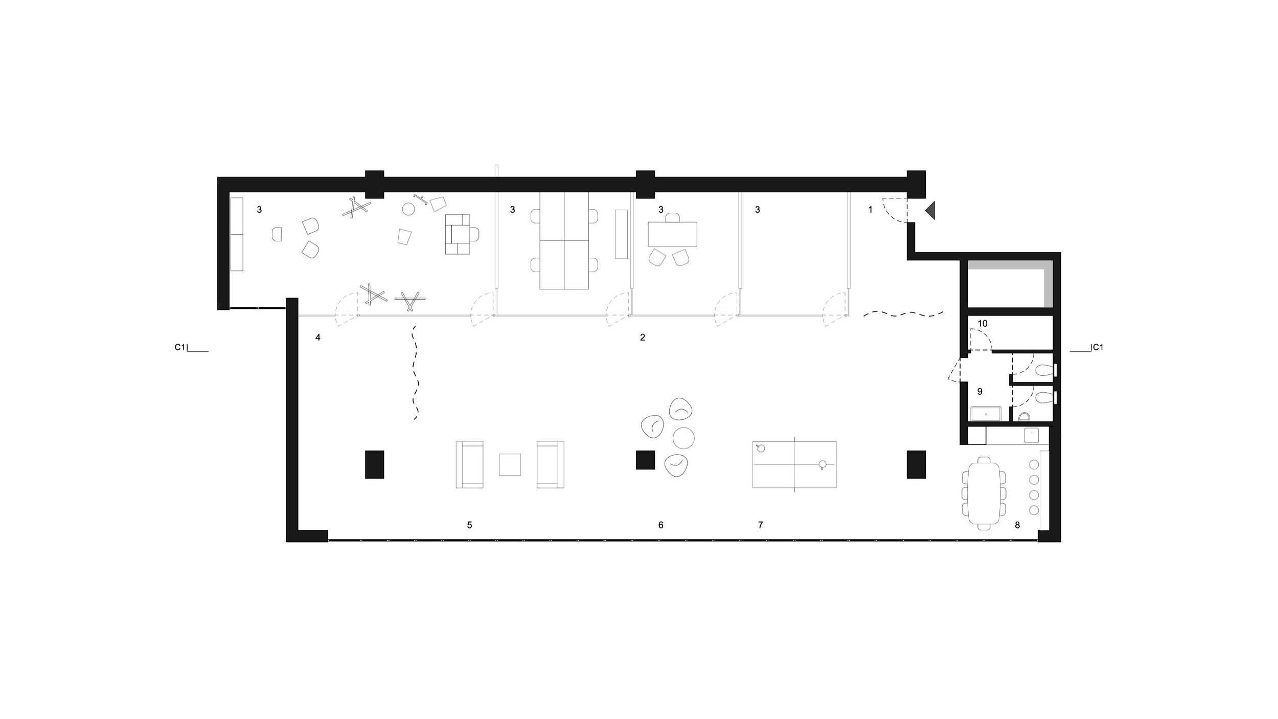 FLOOR PLAN _ 1 entrance hall . 2 circulation . 3 office . 4 photo shooting area . 5 lounge . 6 meeting corner . 7 playing area . 8 pantry . 9 toilets . 10 storage
