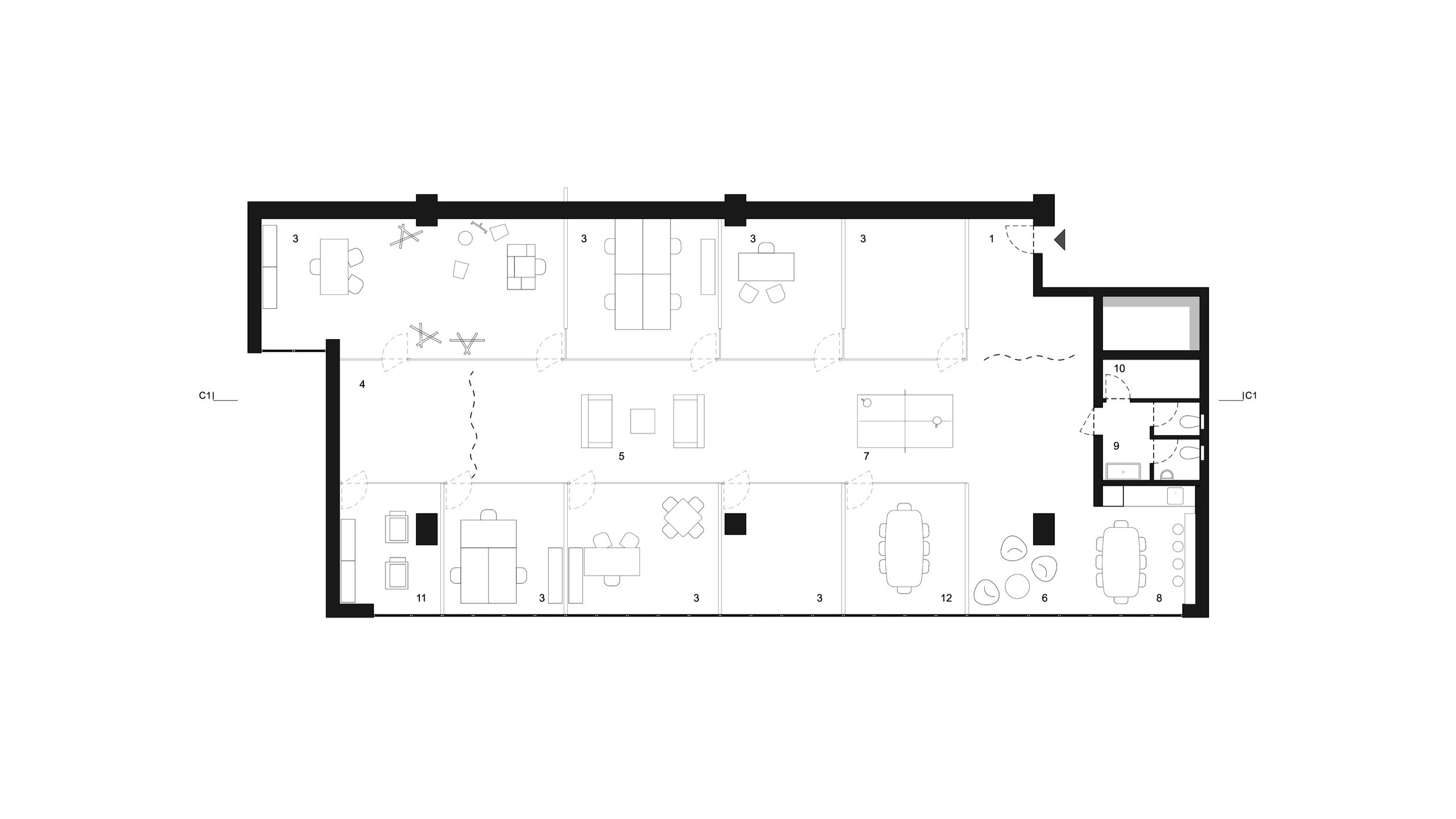 FLOOR PLAN _ 1 entrance hall . 2 circulation . 3 office . 4 photo shooting area . 5 lounge . 6 meeting corner . 7 playing area . 8 pantry . 9 toilets . 10 storage . 11 copy room . 12 meeting room
