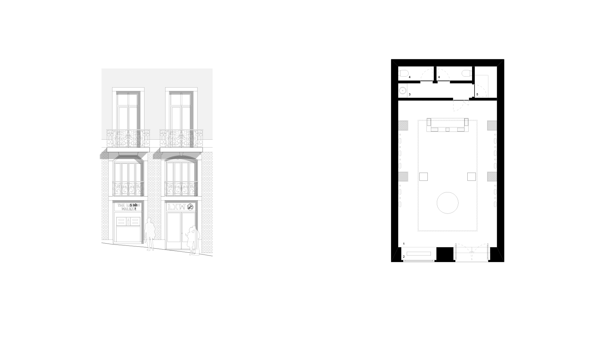 ELEVATION AND FLOOR PLAN _ 1 showroom . 2 store front . 3 hand rinse . 4 toilet . 5 storage