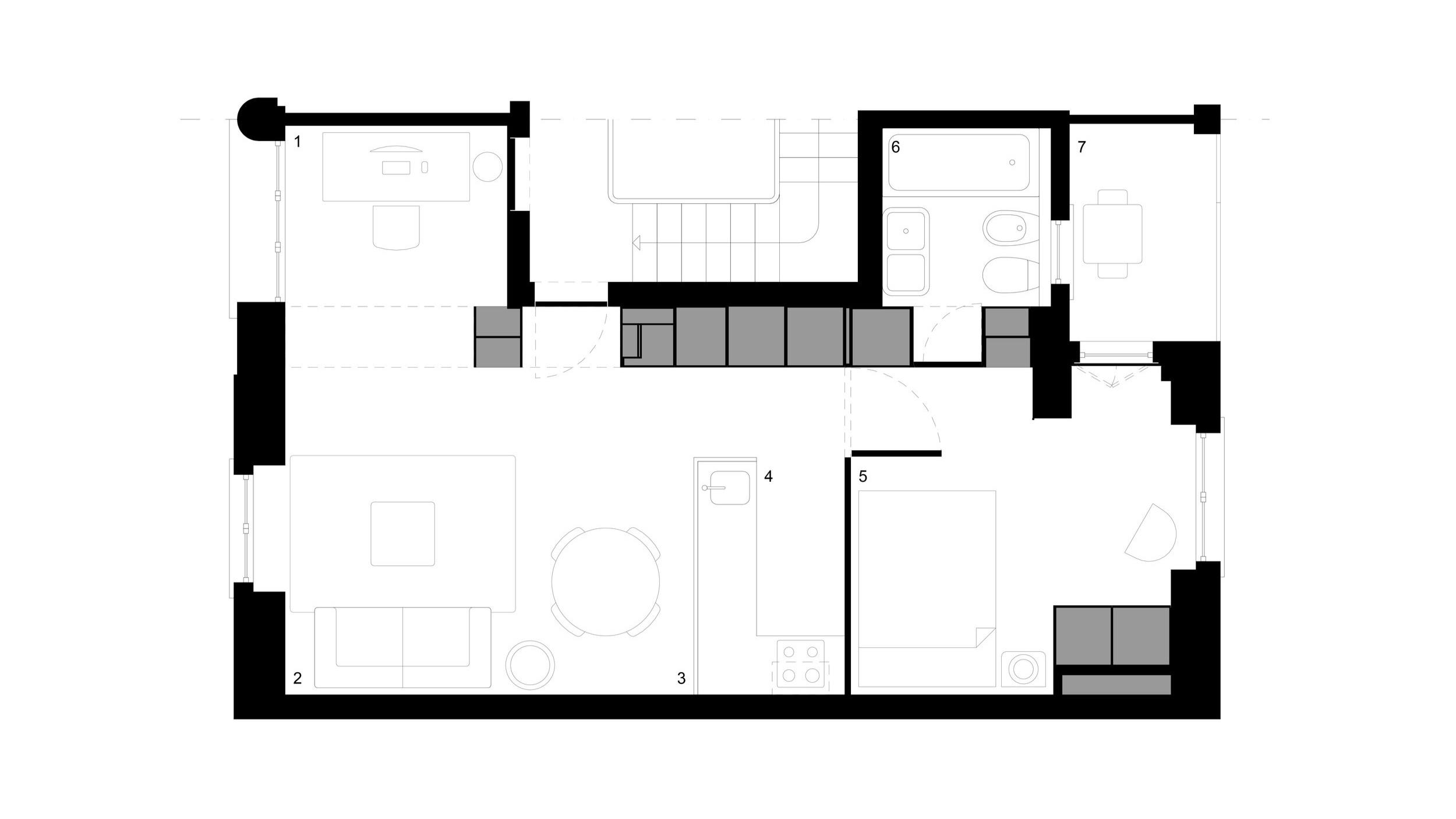 FLOOR PLAN _ 1 office . 2 living . 3 dining . 4 kitchenette . 5 bedroom . 6 bathroom . 7 balcony