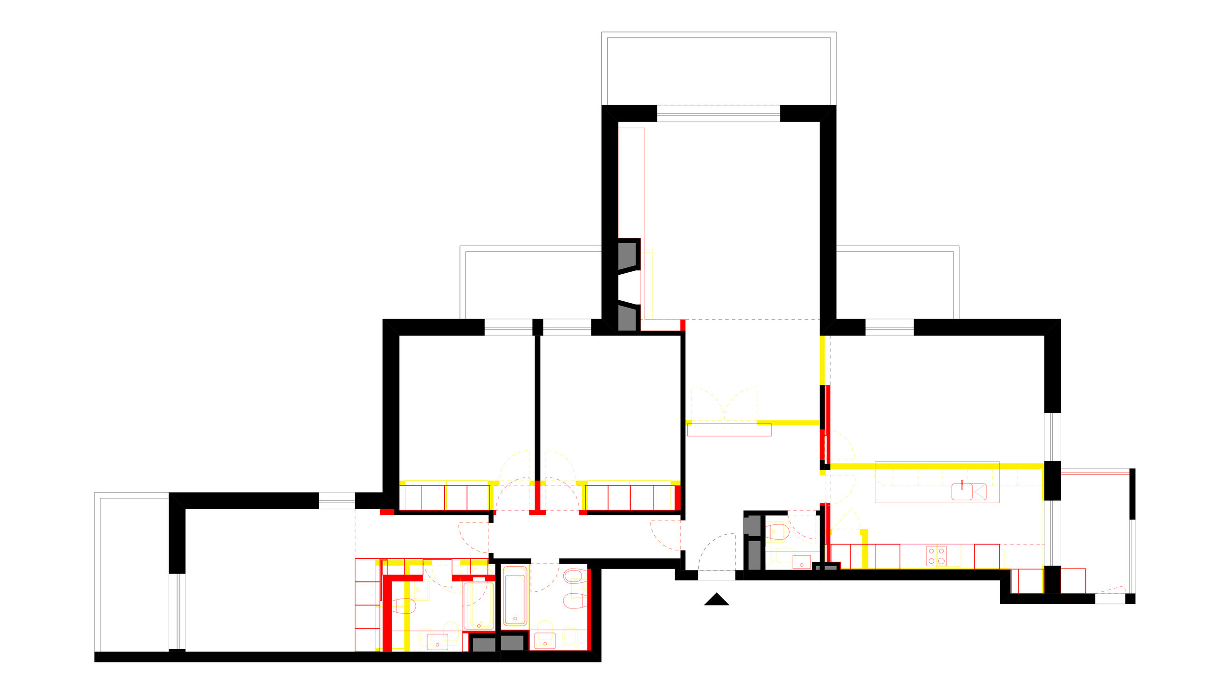 FLOOR PLAN _ Demolition (yellow) and New Construction (red)