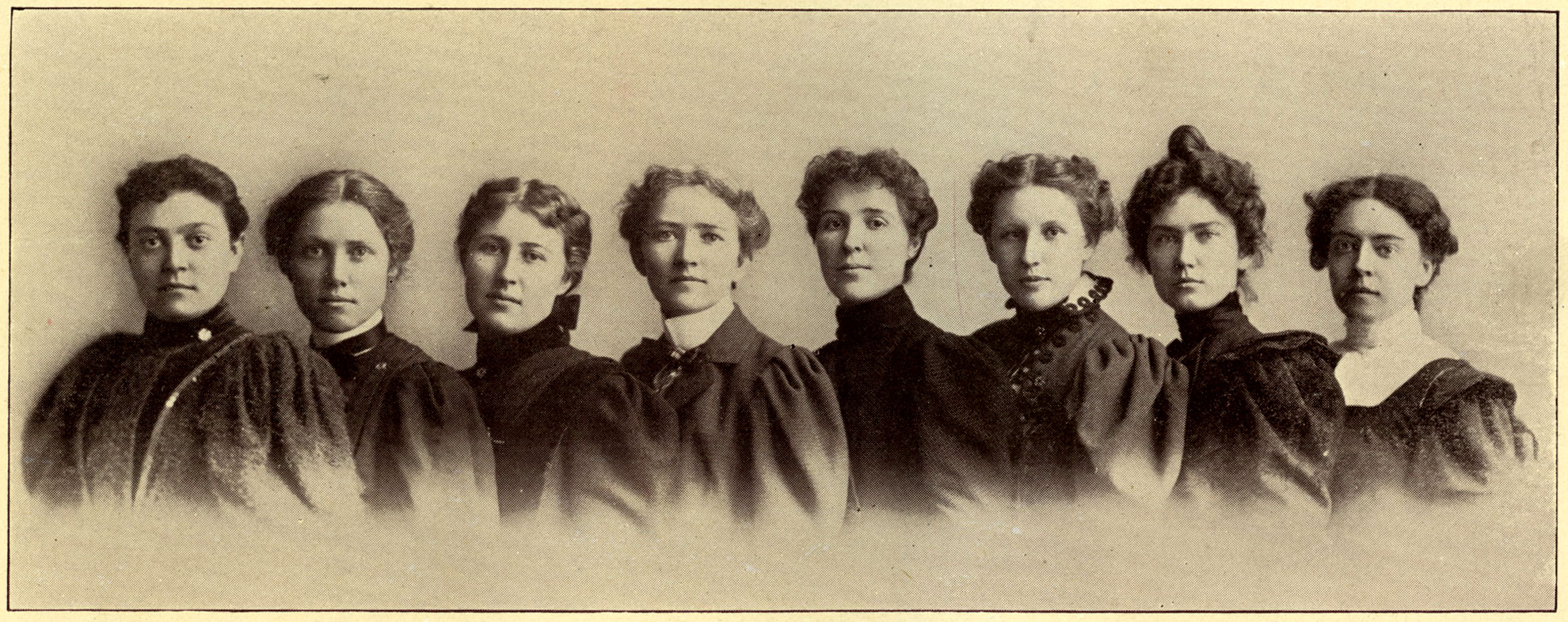 M. Evangeline Jordon (center) with Alpha Upsilon Phi dental sorority. Photo courtesy of Archives and Special Collections, Library and Center for Knowledge Management, University of California, San Francisco