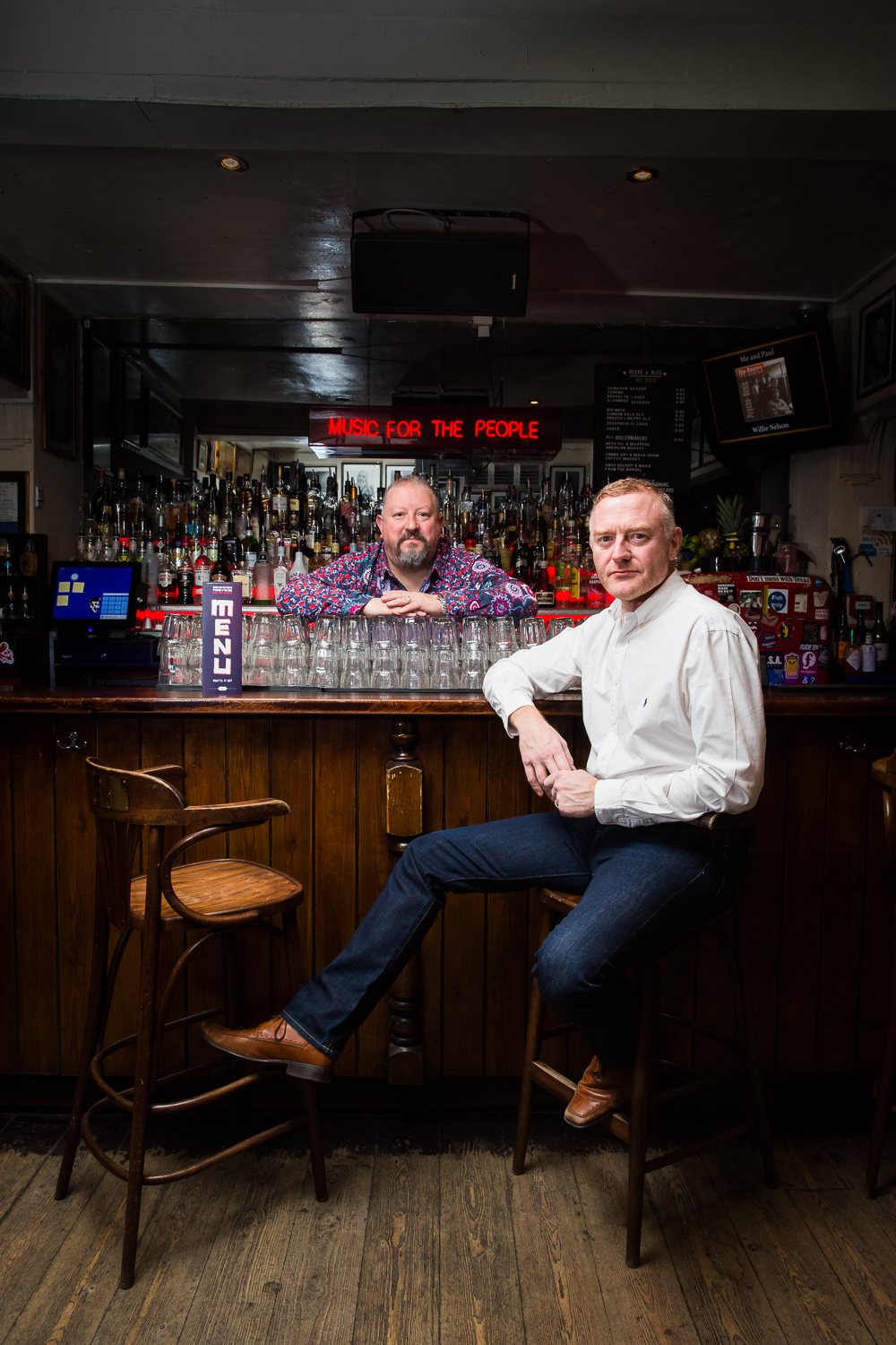 Portrait photography of Mojo, Leeds owners for Imbibe magazine
