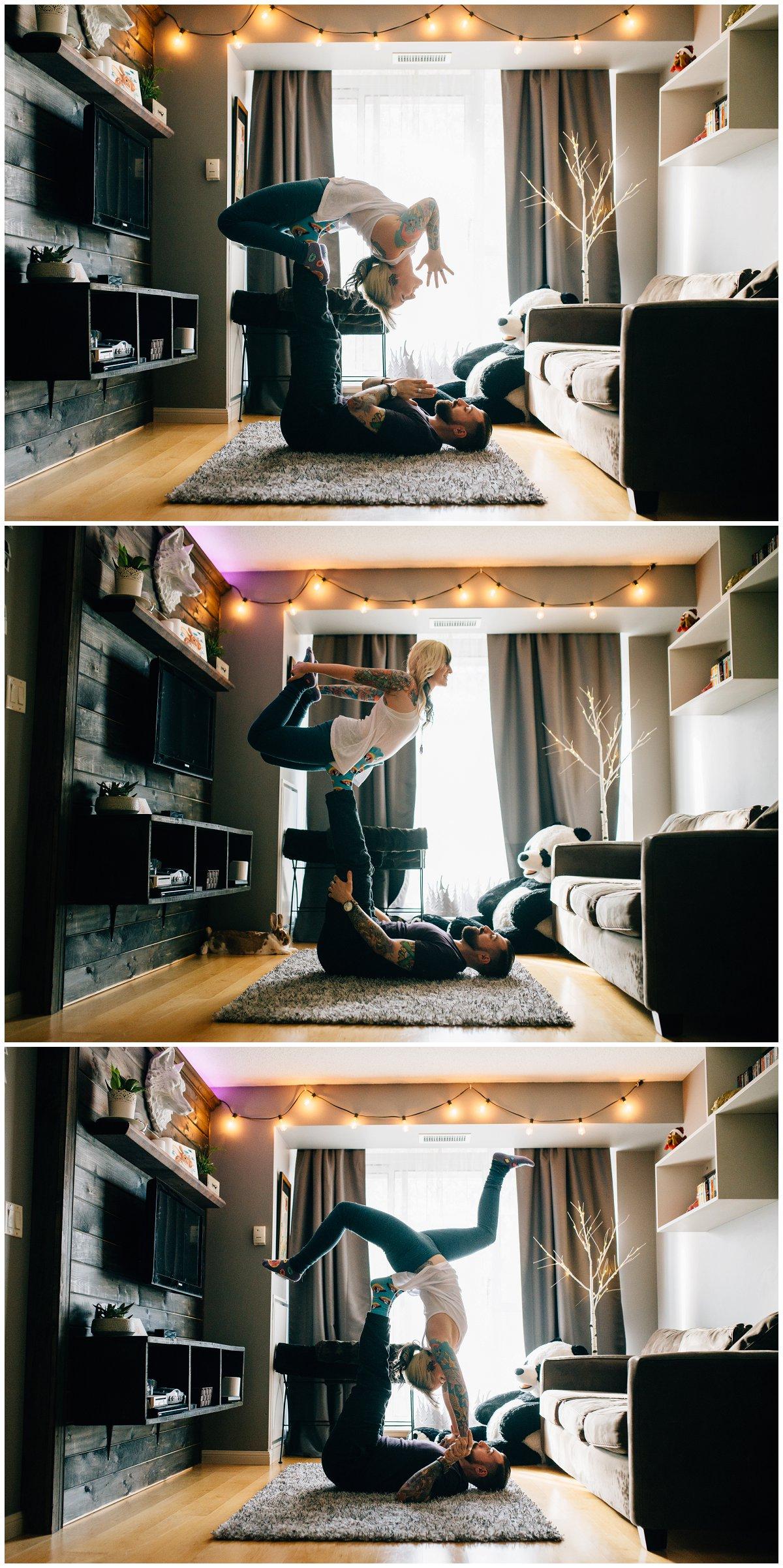 Cozy Indoors Couples Acro Yoga Inspiration