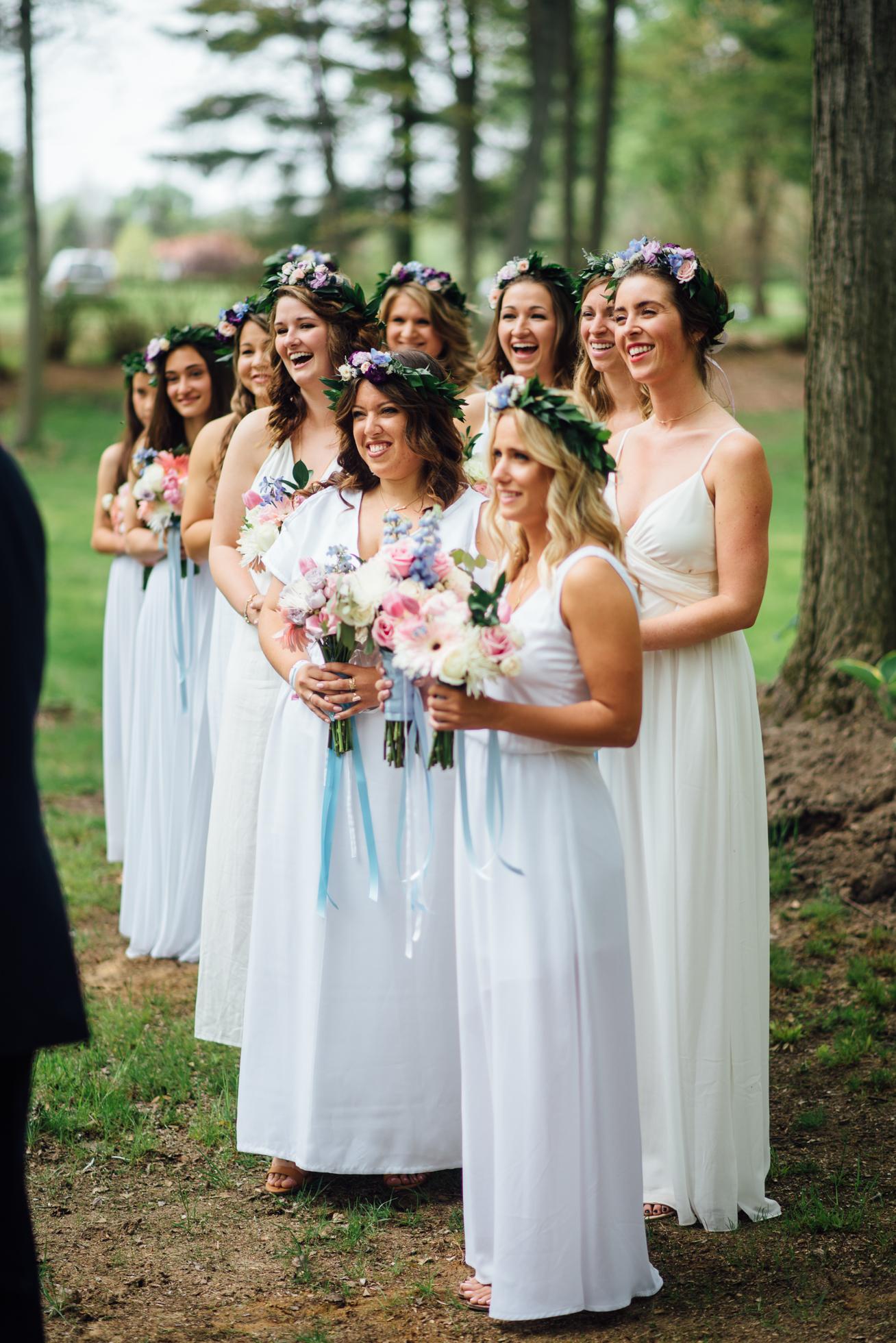 Fernwood Hills London Ontario Bohemian Wedding - bridesmaids wearing mismatching white dresses and flower crowns