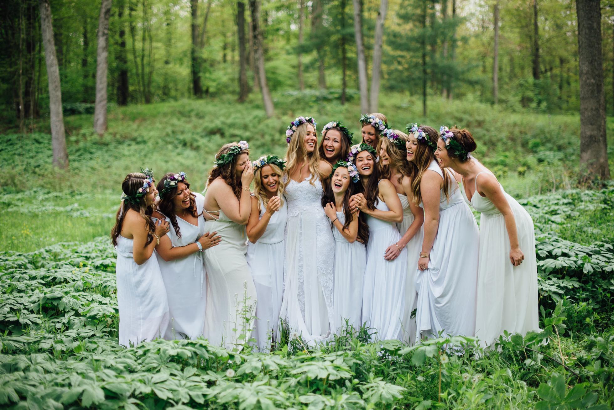 Fernwood Hills London Ontario Bohemian Wedding photographed by Sara Monika, Photographer - free-spirited boho bride with flower crown - Grace Loves Lace wedding dress - bridesmaids wearing white