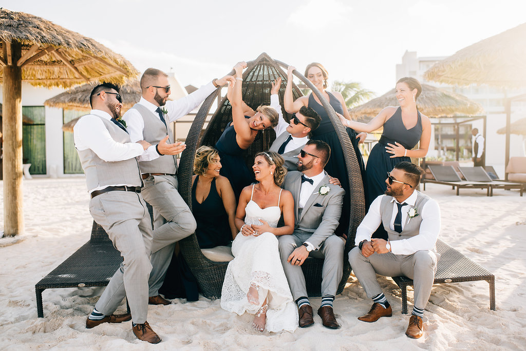 bride and groom with bridal party at Royalton White Sands in Montego Bay, Jamaica