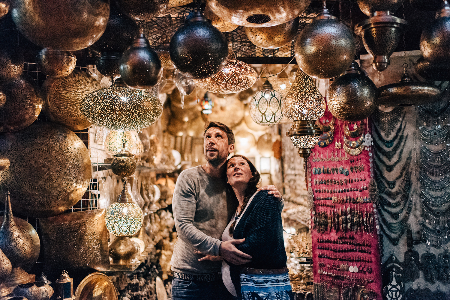 A couples session in the Medina of Marrakech in Morocco. Morocco wedding photographer.
