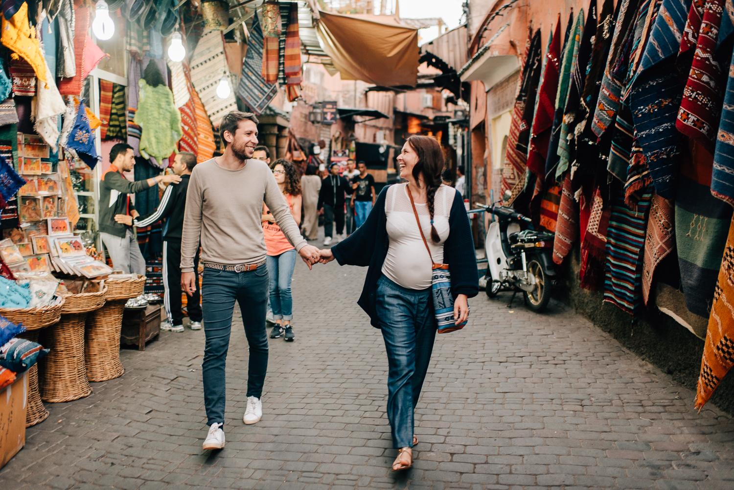 A couples session in the Medina of Marrakech in Morocco.