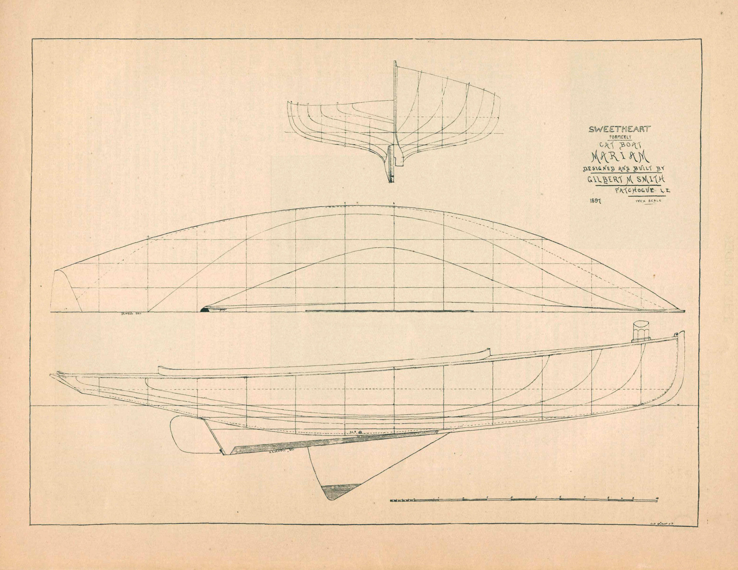 THE 1898 RUDDER MAGAZINE ARTICLE FEATURING GIL SMITH'S CATBOAT DESIGN FOR  SWEETHEART , FORMERLY  MARIAM