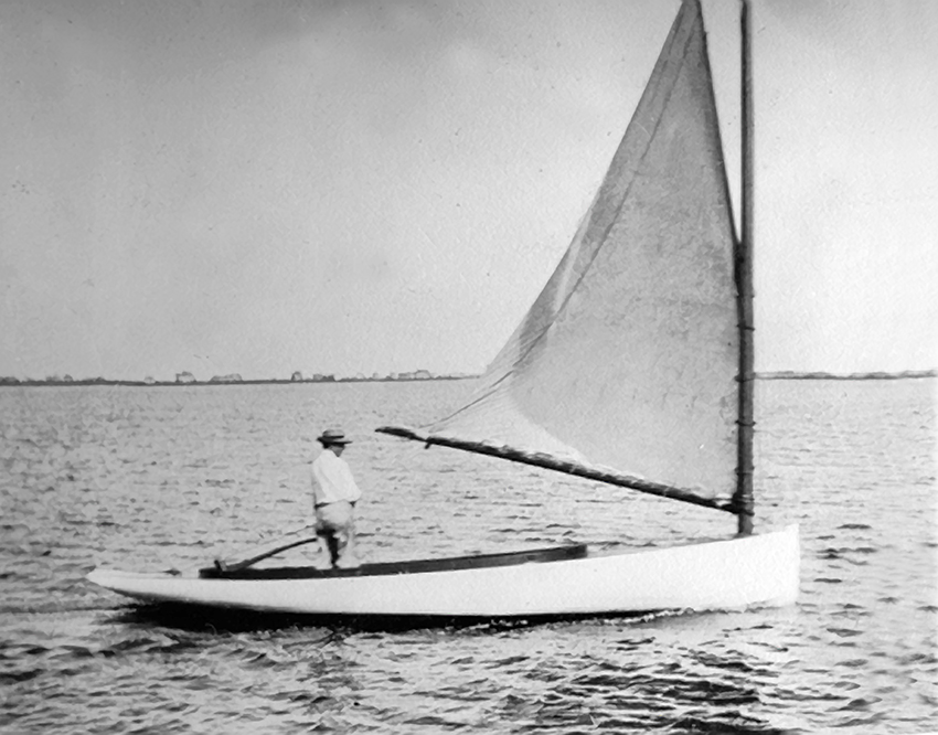 THE 1899 PHOTO OF YARROW THORNE'S MATERNAL GREAT-GRANDFATHER ON HIS CATBOAT,  BRISEIS , THAT INSPIRED HIS JOURNEY TO BUILD  WHIRLWIND II