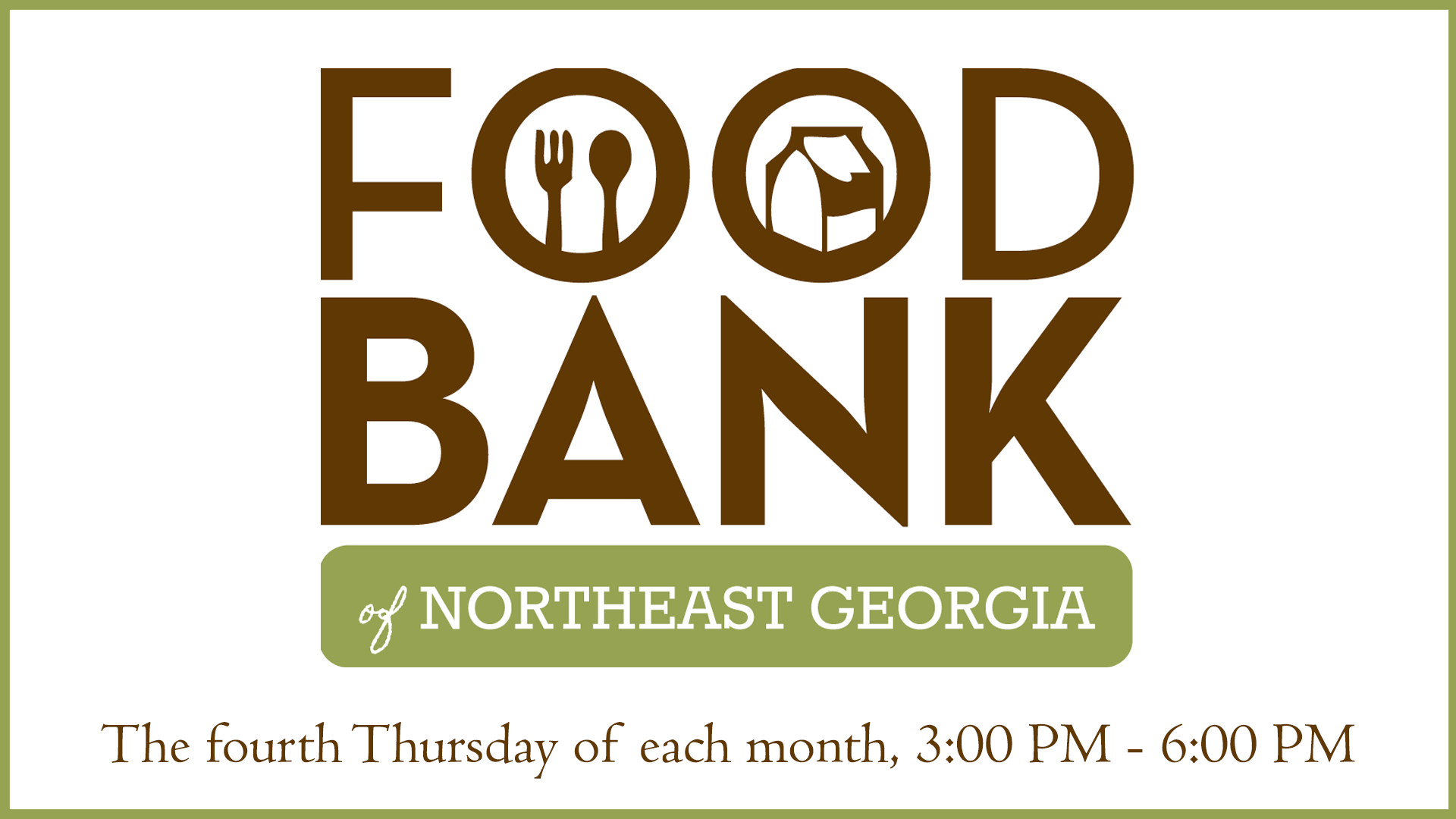 Food Bank - Every fourth Thursday of the month, we hold a food bank for those in need of assistance on the Grace Fellowship Campus from 3:00-6:00 PM.