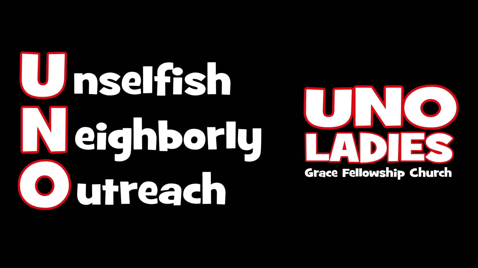 "UNO Ladies - A fellowship for Adult Women, the UNO Ladies' focus is ""Unselfish Neighborly Outreach"". They meet in the Grace Hall every Thursday from 12-2 PM."