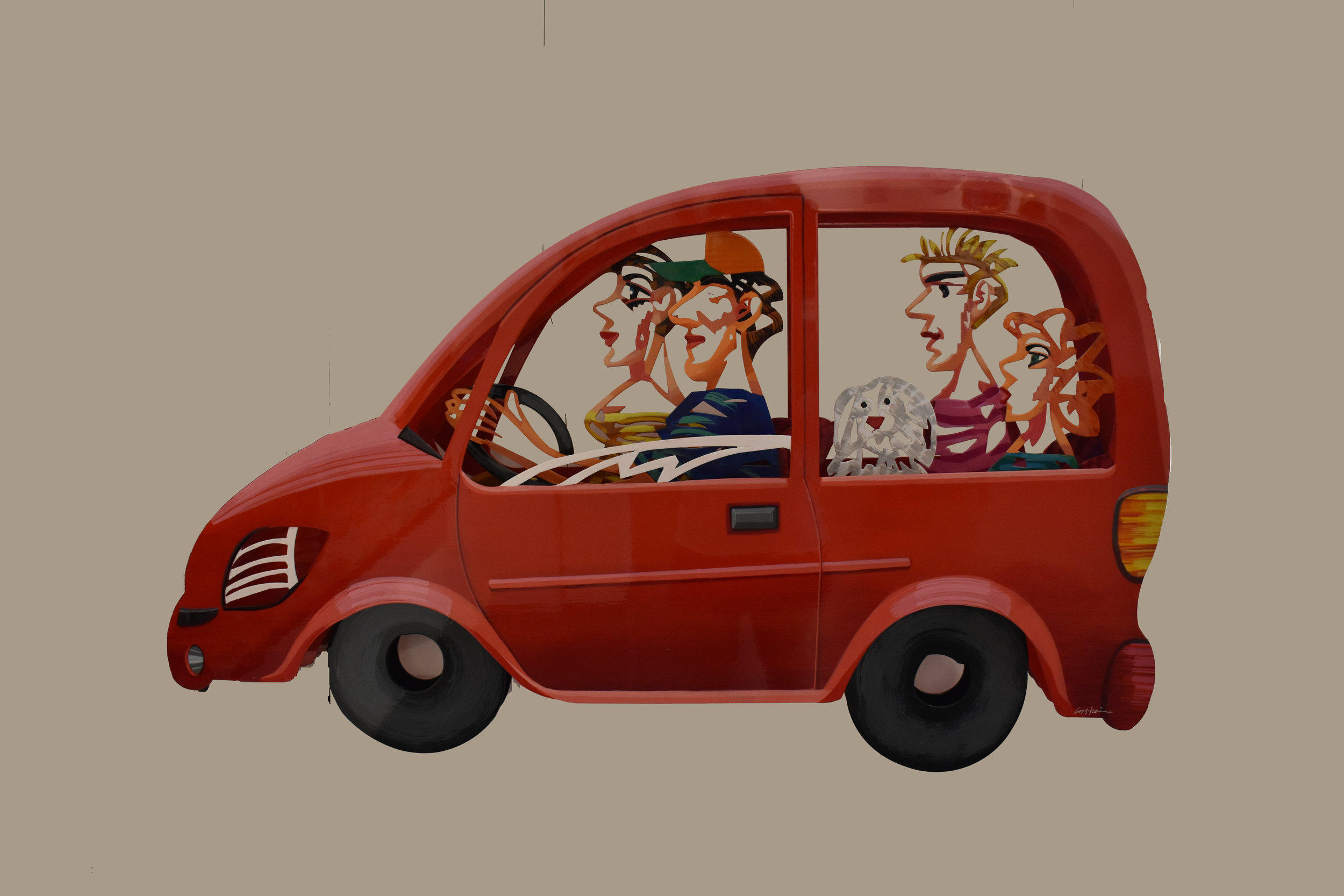 Family Car - 1998Hand painted cutout steel, 3 layers141/29571 x 119 cm