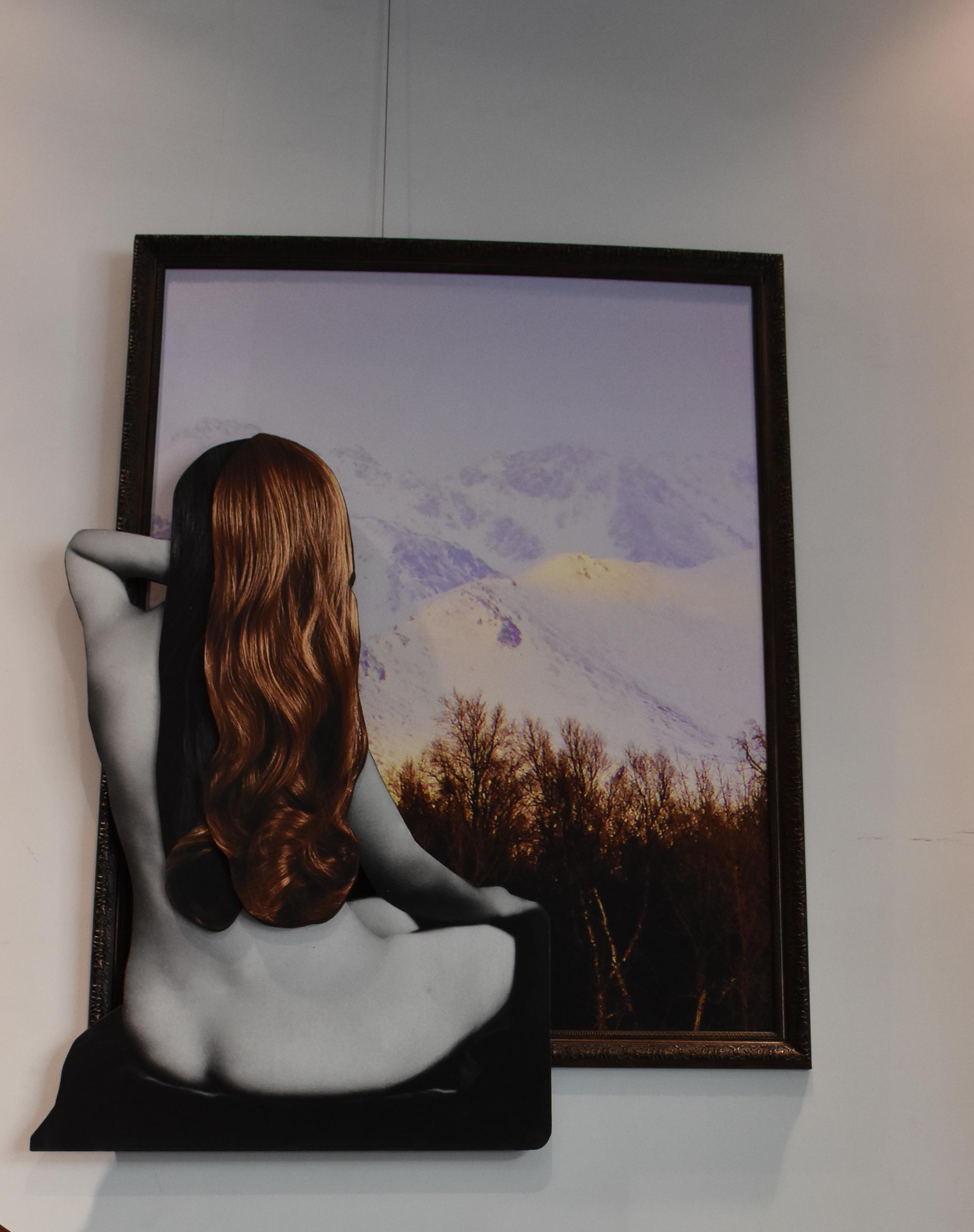 Naked Observer - 3D fine print on wood140 x 110 cm