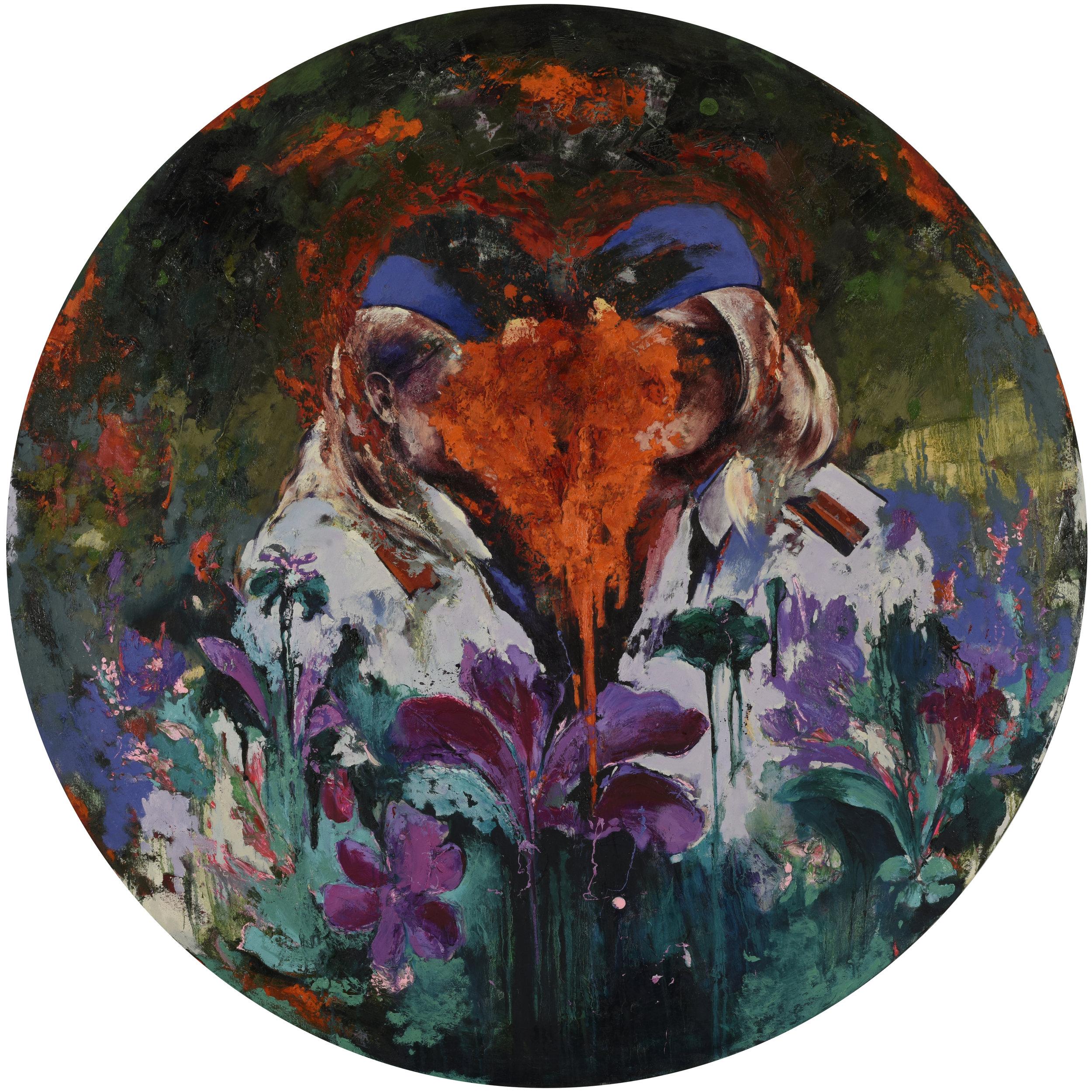 Flower Box 3 - Oil on canvasD: 156 cm