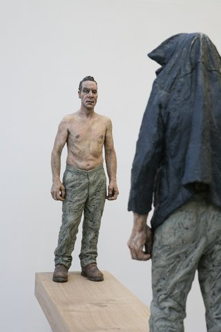Man With Alter Ego - Fired clay, oil paint, perspex and woodEdition of 586 x 152 x 30.5 cm