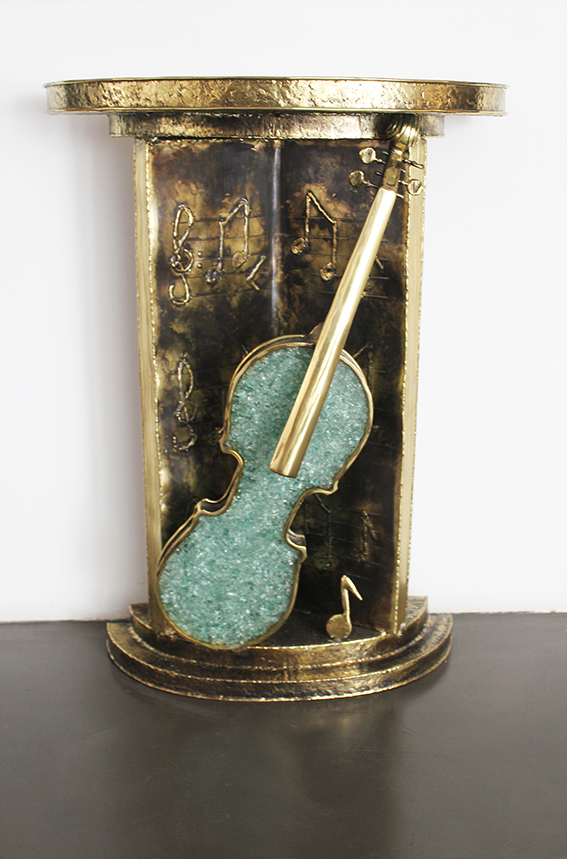 Console Violon Et Partition - 2012Brass and glassH: 90 cm