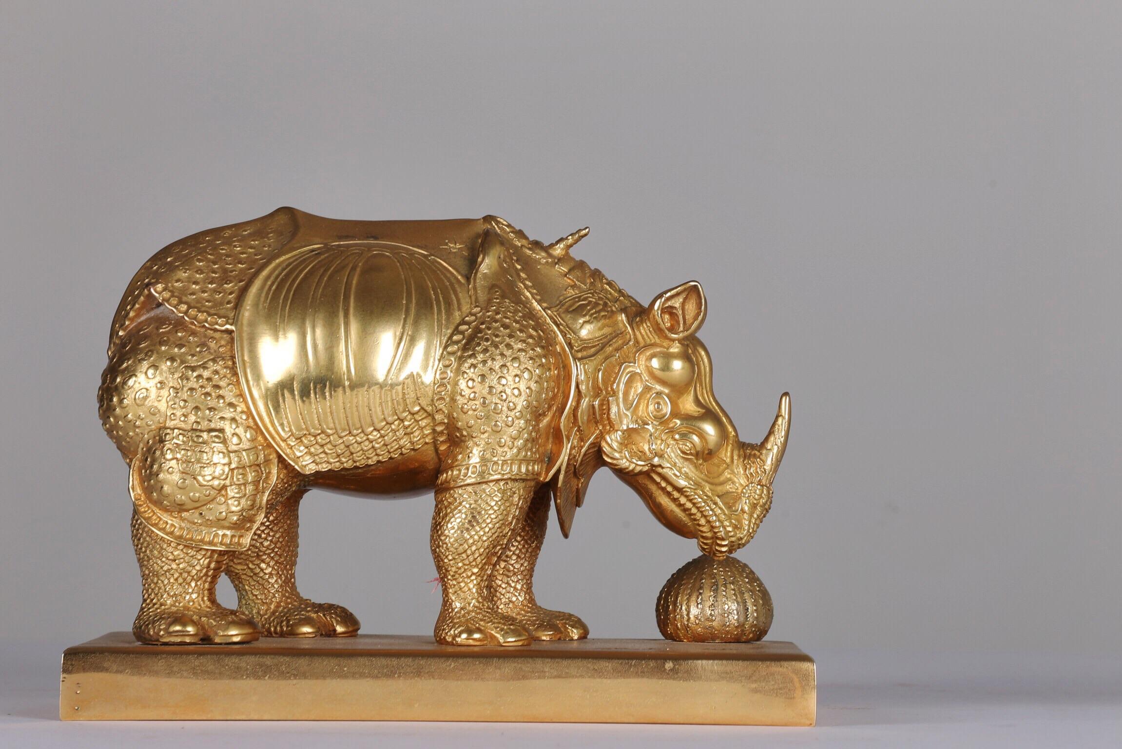 Petit Rhino En Dentelles Dore - 1954Bronze and gold leaf 22 carats16/350H: 11.7 cm