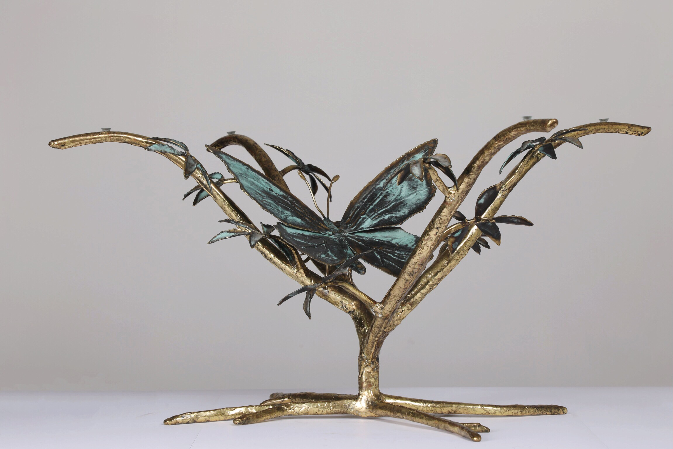Table Papillons Et Branches - 2012Brass and glass40 cm