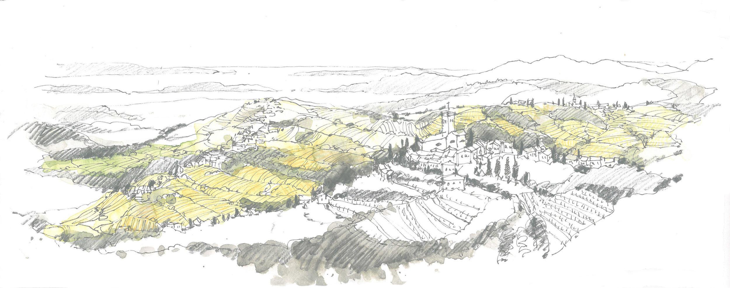 Landschaft skizzieren