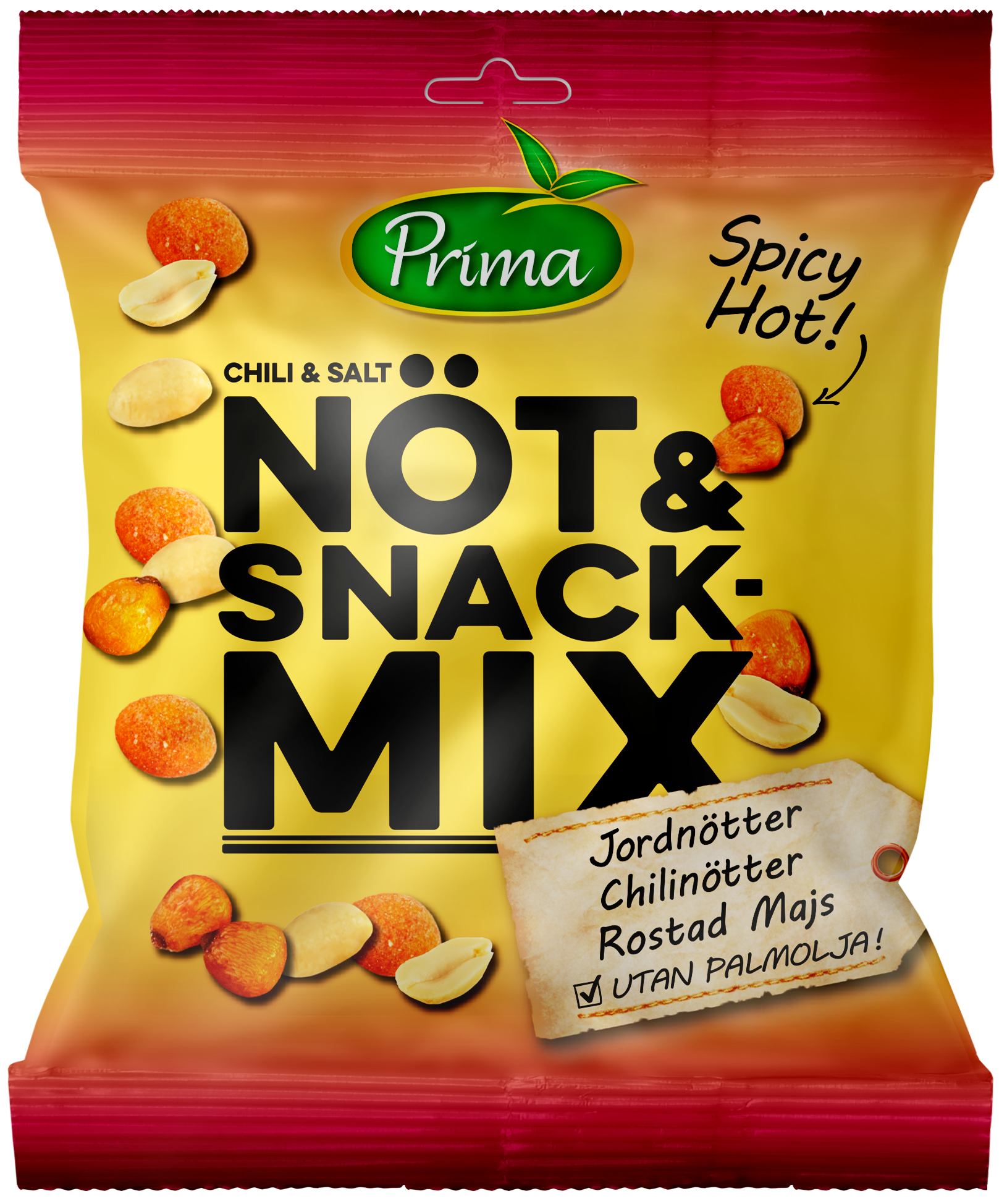 NUTS & SNACKMIX - A salty mix with peanuts, chilinuts and roasted corn with chili. The bag contain 150g.Ingredients: Dry roasted PEANUTS 37%, Roasted corn 30% (corn 84%, sunflower oil, salt, spices (onion, garlic, pepper, cayenne, pepper, tomato), maltodextrin, flavor enhancer E621, sunflower oil), Chili nuts 30% (PEANUTS 40%, WHEAT flour, sunflower oil, corn starch, sugar, spices, salt, coloring (paprika), glucose syrup), sunflower oil, salt.Nutritional value per 100g Energy 495.7 kcal / 2072 kJ Fat 26.6g, of which saturated fat 4.2g Carbohydrates 47.4g, of which sugars 6.8gProtein 15.8gFiber 7gSalt 1.4g