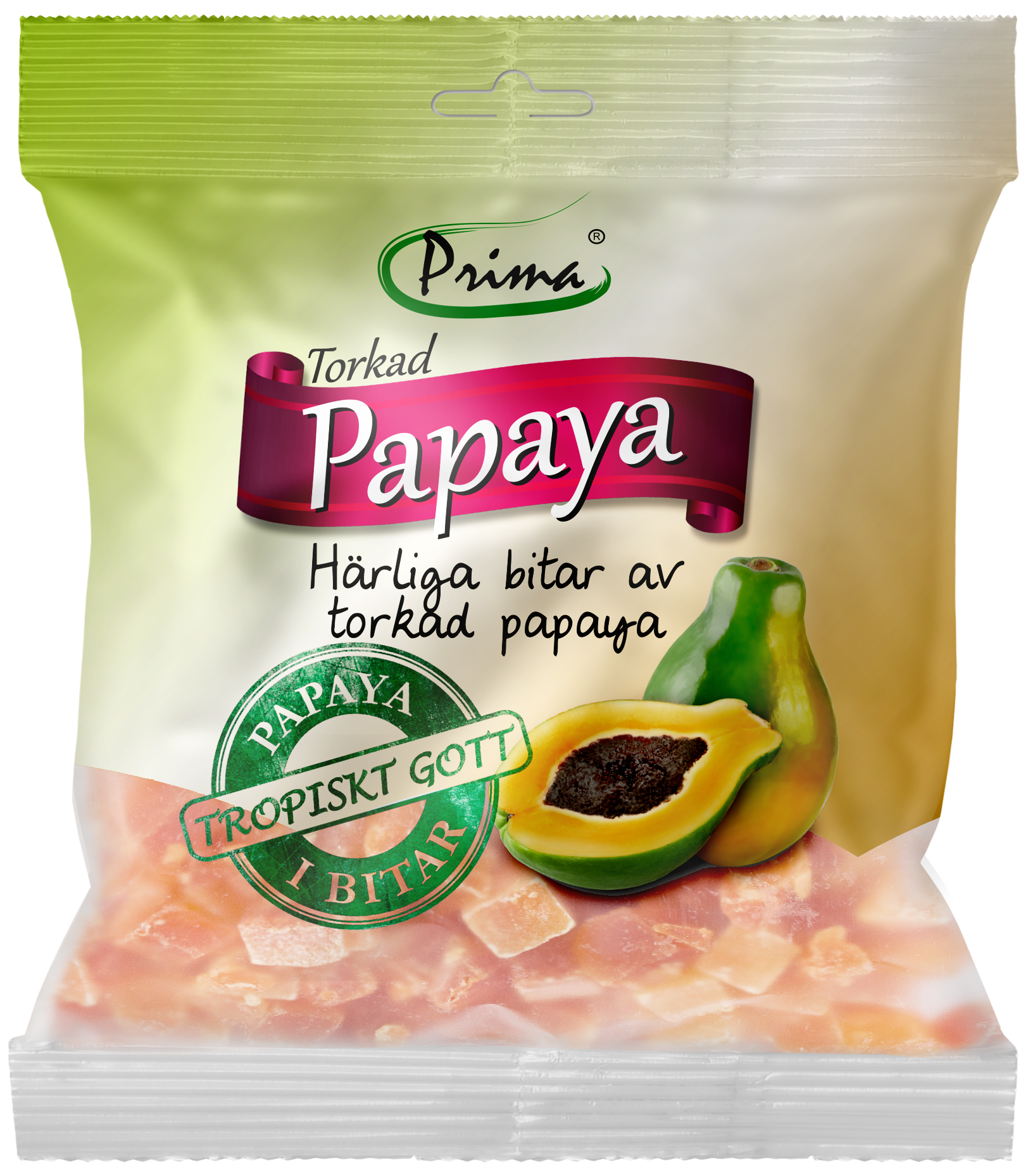 Dried papaya - Delicious pieces of dried papaya. The bag contain 175 g.Ingredients: Dried papaya, sugar, preservative E220, acidity regulator E330Nutritional value per 100gEnergy 330kcal / 1382 kJFat 0g, of which saturated fat 0gCarbohydrates 82g, of which sugars 69gProtein 0gSalt 375mg