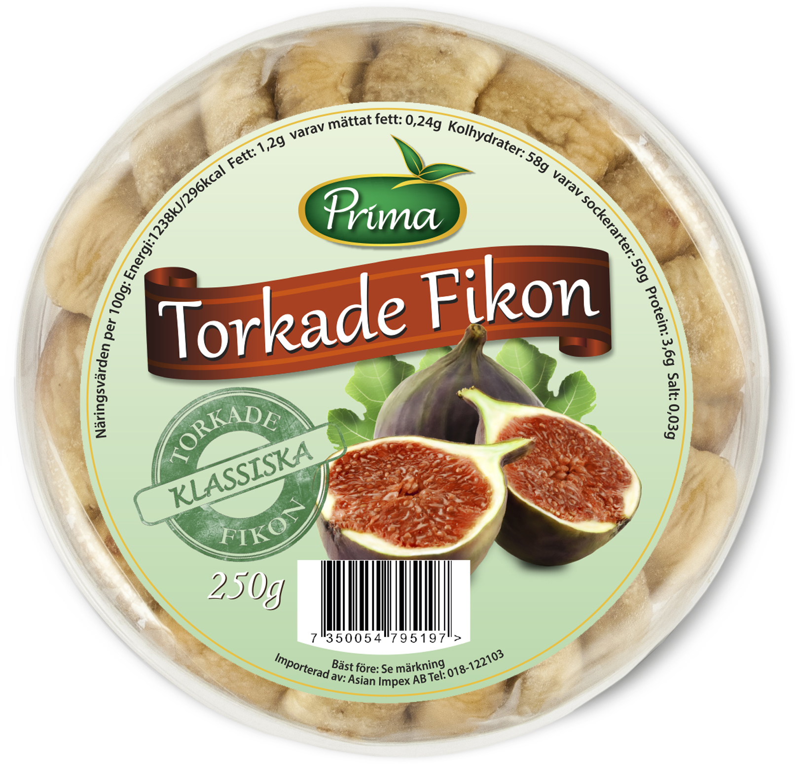 Dried figs - Dried figs in a practical and resealable packaging that keeps the figs soft for a longer time. 250gIngredients:FigsNutritional value per 100gEnergy 296 kcal / 1238 kJFat 1.2g, of which saturated fat is 0.24gCarbohydrates 58g, of which sugars are 50gProtein 3.6gSalt 0.03g