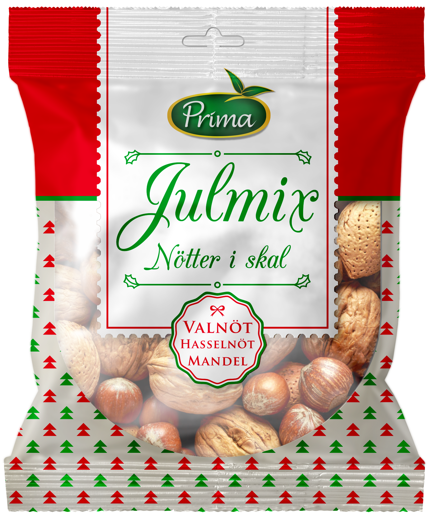 Julmix (Christmas Mix) - Delightful Christmas mix of nuts with shell. Walnut, Hazelnut & Almond.Ingredients: Walnut, Hazelnut, AlmondNutritional value per 100gEnergy 646 kcal / 2677 kJFat 58g, of which saturated fat 4.6 gCarbohydrates 12.6g, of which sugars 4.5gProtein 16gFiber 7.4gSalt 0g