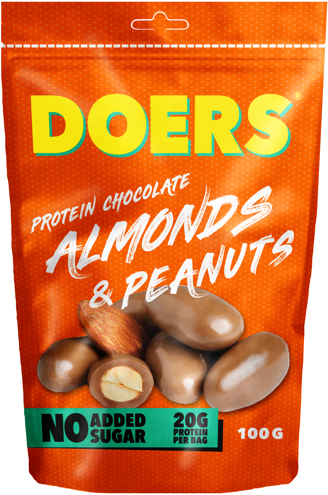 almonds & peanuts - Ingredients: MILKchokolate 49% (cocoa butter, chicory root fiber, oligofructose, cocoa paste, whole MILK powder, skimmed MILK powder, sweetener: erythritol, emulsifier: sunflower lecithin, sweetener: steviol glycosides, natural vanilla aroma, natural aroma) PEANUTS 25%, ALMOND 20%, protein (hydrolyzed gelatin) , salt, glazing agent: gum arabic, shellac.Nutritional value per 100g Energy 531.8 kcal / 2227.5 kJFett 42.1g, of which saturated fat 14.1g Carbohydrates 14.1g, of which sugars 7.7gFibers 18.5gProtein 20gSalt 0.3g