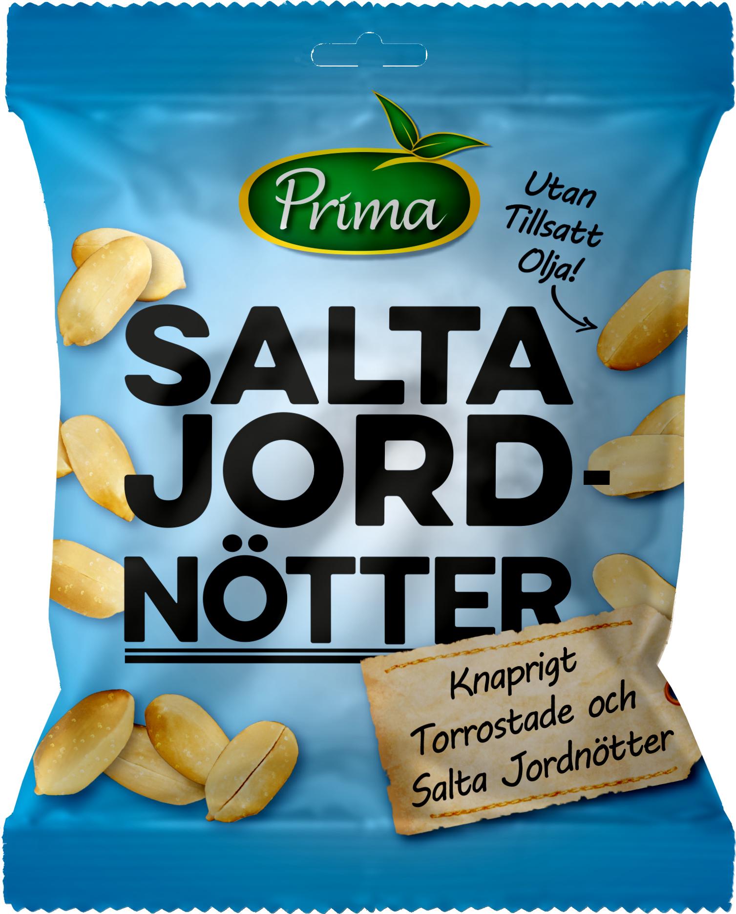 torrostade& saltade Jordnötter - Torrrostade jordnötter med en nypa salt. Påsen innehåller 175 g.Ingredienser:Jordnötter, salt.Näringsvärde per 100gEnergi 581kcal/2431 kJFett 44,4g, varav mättat fett 6,8 gKolhydrater 21,4g, varav sockerarter 5,1gProtein 23,9gSalt 1,1g
