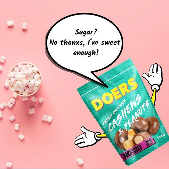 Vi skippar sockret! . #Nyhet #lansering #kommersnart #utansocker #sockerfritt #noaddedsugar #nötter #choklad #ptotein #cashew #peanut #snacks #godis #mellanmål #DOERS