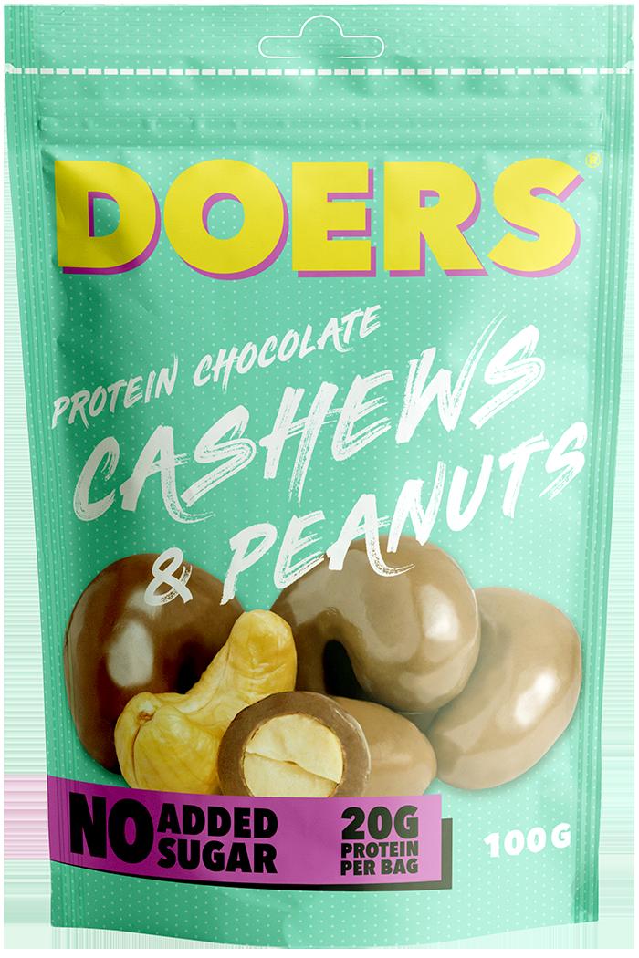 cashews & peanuts - Ingredienser:MJÖLKchoklad 49% (kakaosmör, fiber från cikoriarot, oligofruktos, kakaomassa, helMJÖLKspulver, skumMJÖLKspulver, sötningsmedel: erytritol, emulgeringsmedel: solroslecitin, sötningsmedel: steviolglykosider, naturlig vaniljarom, naturlig arom) JORDNÖTTER 25%, CASHEW 20%, protein (hydroliserat gelatin), salt, ytbehandlingsmedel: gummi arabicum, shellack.Näringsvärde per 100gEnergi 529,4 kcal/2292,7kJFett 35,5g, varav mättat fett 14,9gKolhydrater 15,2g, varav sockerarter 7,6gFibrer 18,7gProtein 20gSalt 0,3g
