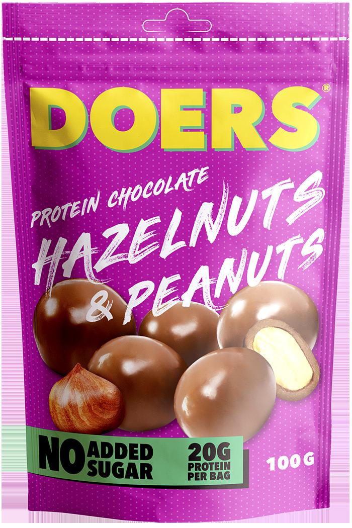 hazelnuts & peanuts - Ingredienser:MJÖLKchoklad 48% (kakaosmör, fiber från cikoriarot, oligofruktos, kakaomassa, helMJÖLKspulver, skumMJÖLKspulver, sötningsmedel: erytritol, emulgeringsmedel: solroslecitin, sötningsmedel: steviolglykosider, naturlig vaniljarom, naturlig arom) JORDNÖTTER 25%, HASSELNÖTTER 20%, protein (hydroliserat gelatin), salt, ytbehandlingsmedel: gummi arabicum, shellack.Näringsvärde per 100g Energi 536,5 kcal/2207,6 kJFett 43,8g, varav mättat fett 13,8gKolhydrater 13,1g, varav sockerarter 7gFibrer 18gProtein 20gSalt 0,3g