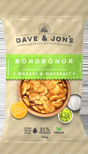 rostade bondbönor med wasabi - Nettovikt: 100gIngredienser: Bondbönor, solrosolja, salt, wasabikrydda (wasabi, pepparrot,maltodextrin, glukos, klumpförebyggande medel: kiseldioxid,surhetsreglerande medel: bikarbonat. Förpackat i en skyddandeatmosfär. KAN INNEHÅLLA SPÅR AV: JORDNÖTTER, NÖTTER, SOJA,VETE OCH MJÖLK.Näringsvärde per 100gEnergi 440 kcal/1841 kJFett 16,4g, varav mättat fett 3gKolhydrater 47,2g, varav sockerarter 1gFibrer 9,7gProtein 21,3gSalt 1,3g