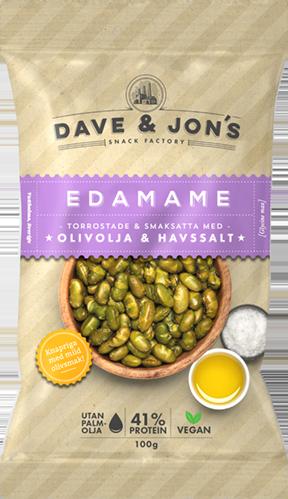 rostade edamame - Ingredienser: Gröna SOJAbönor, olivolja 3%, salt. Förpackat i en skyddandeatmosfär. KAN INNEHÅLLA SPÅR AV: JORDNÖTTER, NÖTTER, VETEOCH MJÖLK.Näringsvärde per 100gEnergi 421 kcal/1768 kJFett 16g, varav mättat fett 2,3gKolhydrater 22g, varav sockerarter 1gFibrer 12,5gProtein 41,3gSalt 1,8g