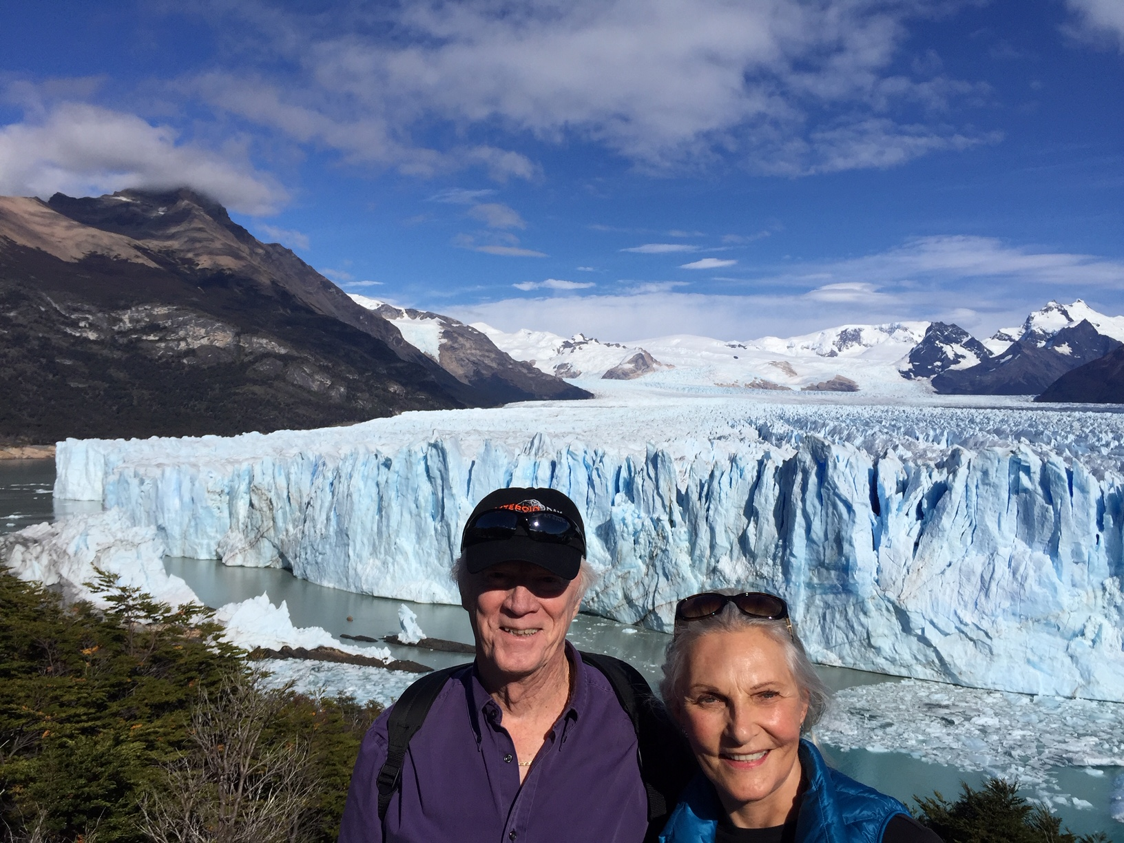 Nancy and I in front of the Perito Marino glacier outside El Calafate, Argentina
