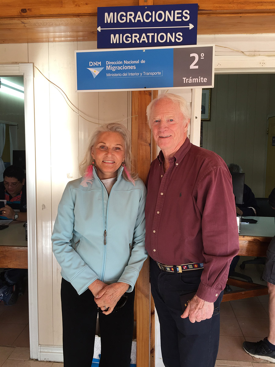 Nancy and I crossing the border from Chile to Argentina on our Patagonia trip, Mar 2017
