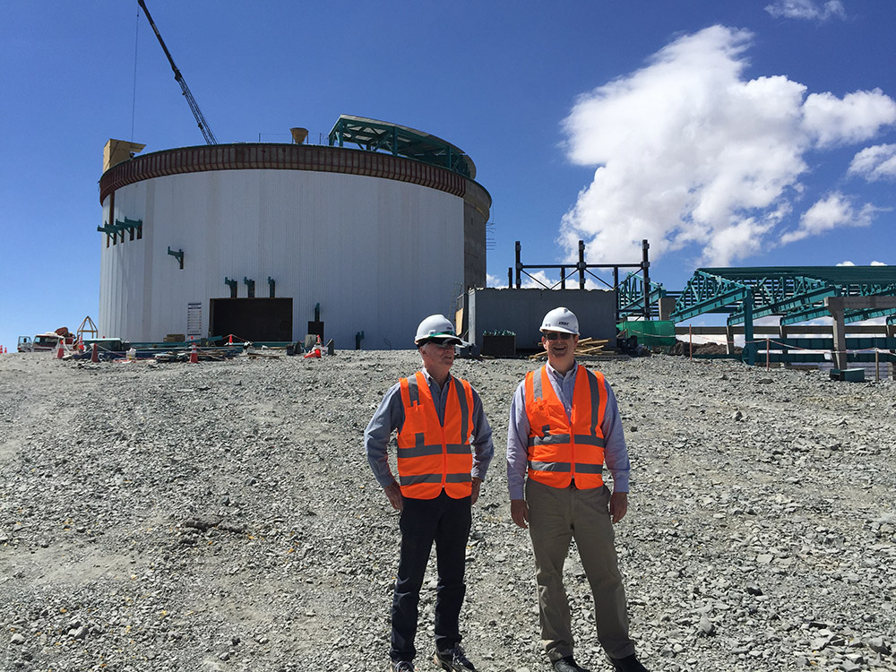 Chris Smith (Director of AURA in Chile)(Association of Universities for Research in Astronomy) and I at the LSST construction site (Large Synoptic Survey Telescope) on top of Cerro Pachon, Chile, Mar 2017